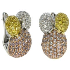 5.90 Carat / Natural Fancy Diamonds / 18 Karat White Gold / Earrings
