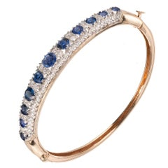 5.90 Carat Natural Sapphire Diamond Gold Bangle Bracelet