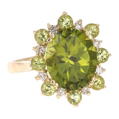 5.90 Carat Peridot Diamond 14 Karat Yellow Gold Cocktail Ring