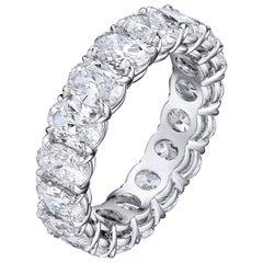 5.90 Carat Platinum Oval Diamond Wedding Eternity Band
