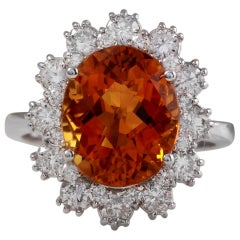 5.90 Carat Exquisite Natural Madeira Citrine and Diamond 14K Solid Gold Ring