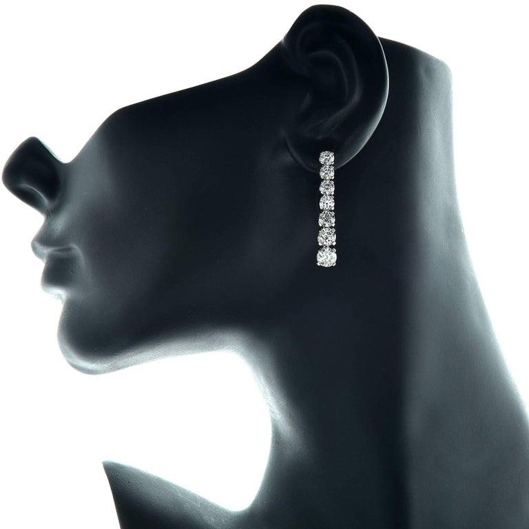 Modern 5.91 Carat Diamond Drop Graduated Earrings GIA Certified Diamonds D-F Color For Sale