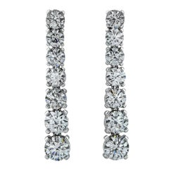 5.91 Carat Diamond Drop Graduated Earrings GIA Certified Diamonds D-F Color