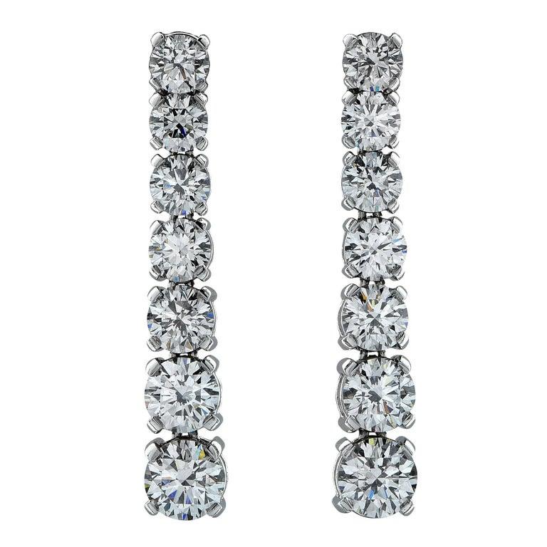 5.91 Carat Diamond Drop Graduated Earrings GIA Certified Diamonds D-F Color For Sale