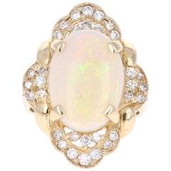 5.91 Carat Opal Diamond 14 Karat Yellow Gold Ring