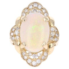 5.91 Carat Opal Diamond 14 Karat Yellow Gold Cocktail Ring