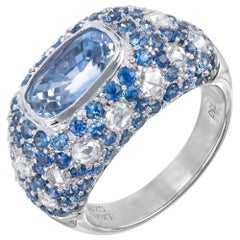 GIA Certified 5.91 Carat Sapphire Diamond Gold Dome Cocktail Cluster Ring