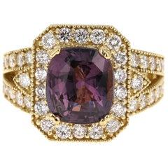 5.91 Carat Unheated Spinel Diamond 18 Karat Yellow Gold Ring