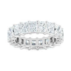 5.91 Carat Radiant Cut Diamond Gold Eternity Band Ring