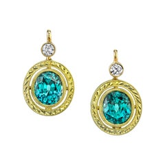 5.92 Carat Blue Zircon and Diamond 18 Karat Yellow Gold Lever Back Earrings