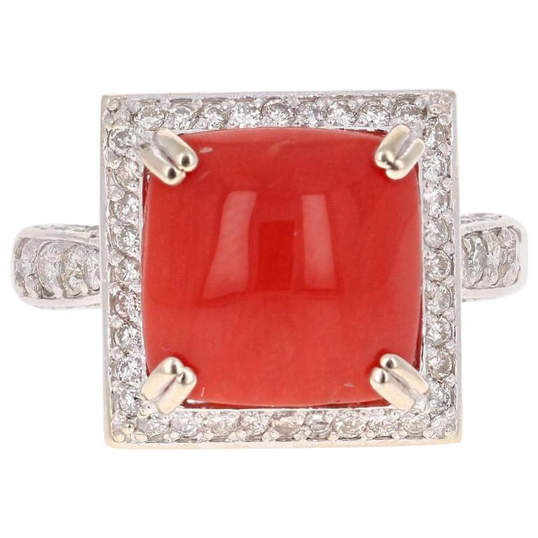 5.93 Carat Coral Diamond 14 Karat White Gold Cocktail Ring