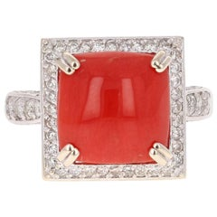 5.93 Carat Coral Diamond 14 Karat White Gold Cocktail Ring