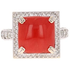 5.93 Carat Coral Diamond White Gold Cocktail Ring