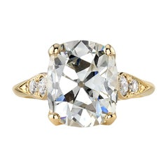 5.93 Carat Cushion Cut Diamond Set in a Handcrafted Yellow Gold Engagement Ring