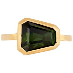 5.93 Carat Shield Cut Chrome Green Tourmaline Ring in Brushed 22 Karat Gold