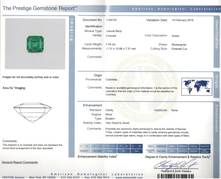 5.94 Carat Colombian Emerald AGL Certified For Sale 2