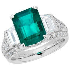 5.94 Carat Emerald Cut Colombian Emerald and Diamond Ring in 18 Karat White Gold
