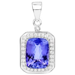 5.94 Carat Genuine Tanzanite and White Diamond 14 Karat White Gold Pendant
