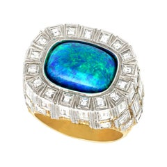 5.94 Carat Opal and 6.55 Carat Diamond Yellow Gold Cocktail Ring by Grima