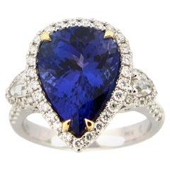 5.94 Carat Pear Shape Tanzanite and Diamond Ring