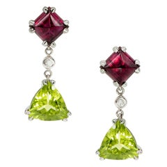 5.94 Carat Sugarloaf Rubellite Tourmaline, Peridot, and Diamond Earrings 18k WG
