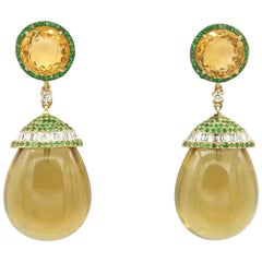 59.43 Carat Citrine Smoky Quartz Cabochon Drop Tsavorite Diamond Dangle Earrings