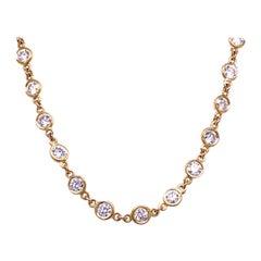 5.95 Carat Bezel Set Round Diamond by the Inch 18 Karat Necklace