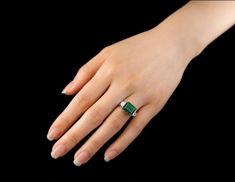 55888f9824a9f 5.95 Carat Chrome Tourmaline Platinum East-West Three-Stone Ring with  Diamonds