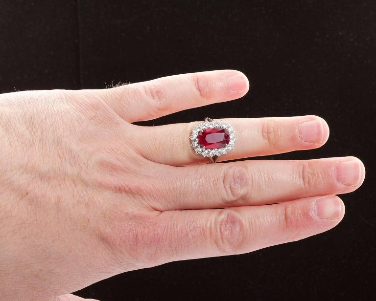 5.95 Carat Cushion Cut Pigeon Blood Ruby Ring GRS Cert For Sale 6