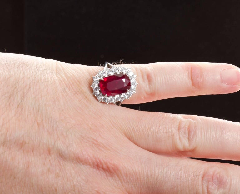 5.95 Carat Cushion Cut Pigeon Blood Ruby Ring GRS Cert For Sale 4