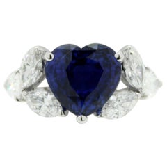 5.95 Carat Heart Shape Sapphire and White Marquise Diamond Cocktail Ring