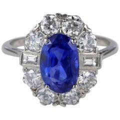 5.95 Carat Certified No Heat Ceylon Sapphire 2.0 Carat Diamond Plat Ring