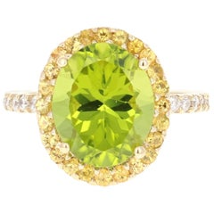5.95 Carat Peridot Diamond 14 Karat Yellow Gold Engagement Ring