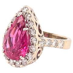 5.95 Carat Pink Spinel Diamond Gold Ring