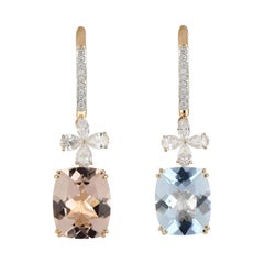 5.95 Carat Total Morganite and Aquamarine Earring with Diamonds in 18 Karat Gold