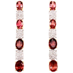 5.95 Carat Tourmaline Diamond Dangling Earrings