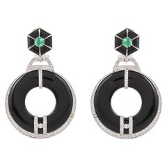 59.55 Carat Black Onyx Emerald and Diamonds 18 Karat White Gold Earring