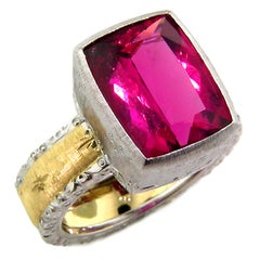 5.95ct Rubellite Tourmaline in 18kt Engraved Ring, Handmade in Italy