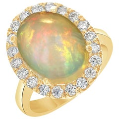 5.96 Carat Opal Diamond 14 Karat Yellow Gold Ring