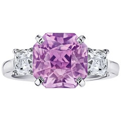 5.96 Carat Radiant Cut Pink Sapphire and Diamond Ring