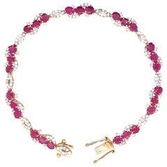 5.96 Carat Ruby Diamond Bracelet