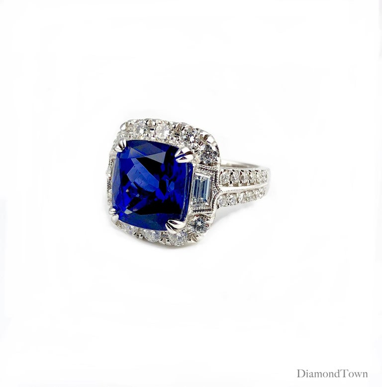 Cushion Cut GIA Certified 5.96 Carat Tanzanite and 1.47 Carat Diamond Cocktail Ring For Sale