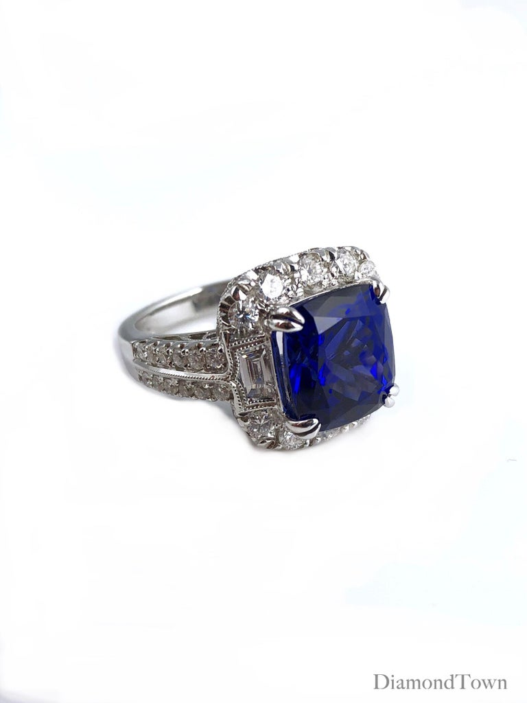 GIA Certified 5.96 Carat Tanzanite and 1.47 Carat Diamond Cocktail Ring In New Condition For Sale In New York, NY