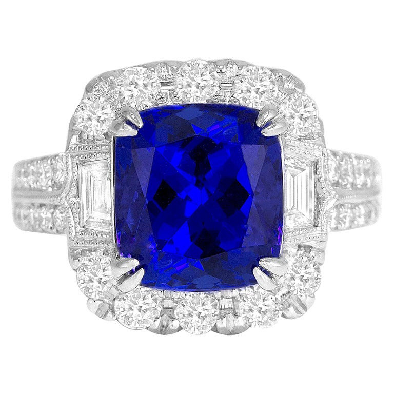 GIA Certified 5.96 Carat Tanzanite and 1.47 Carat Diamond Cocktail Ring For Sale