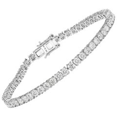 5.97 Carat Genuine White Diamond 14 Karat White Gold Tennis Bracelet