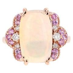 5.97 Carat Opal Pink Sapphire and Diamond 18 Karat Rose Gold Ring
