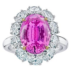 5.97 Carat Oval Pink Sapphire and Diamond Platinum and 18k Ring