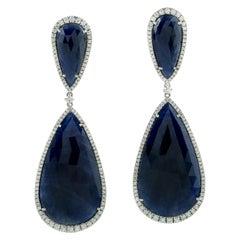 59.75 Carat Blue Sapphire Diamond 18 Karat Gold Earrings