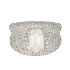 5.97ct Certified Emerald-Cut Diamond and Pave Bombe Cocktail Ring