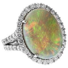 5.98 Carat Ethiopian Oval Opal Diamond 18 Karat Gold Split Shank Cocktail Ring